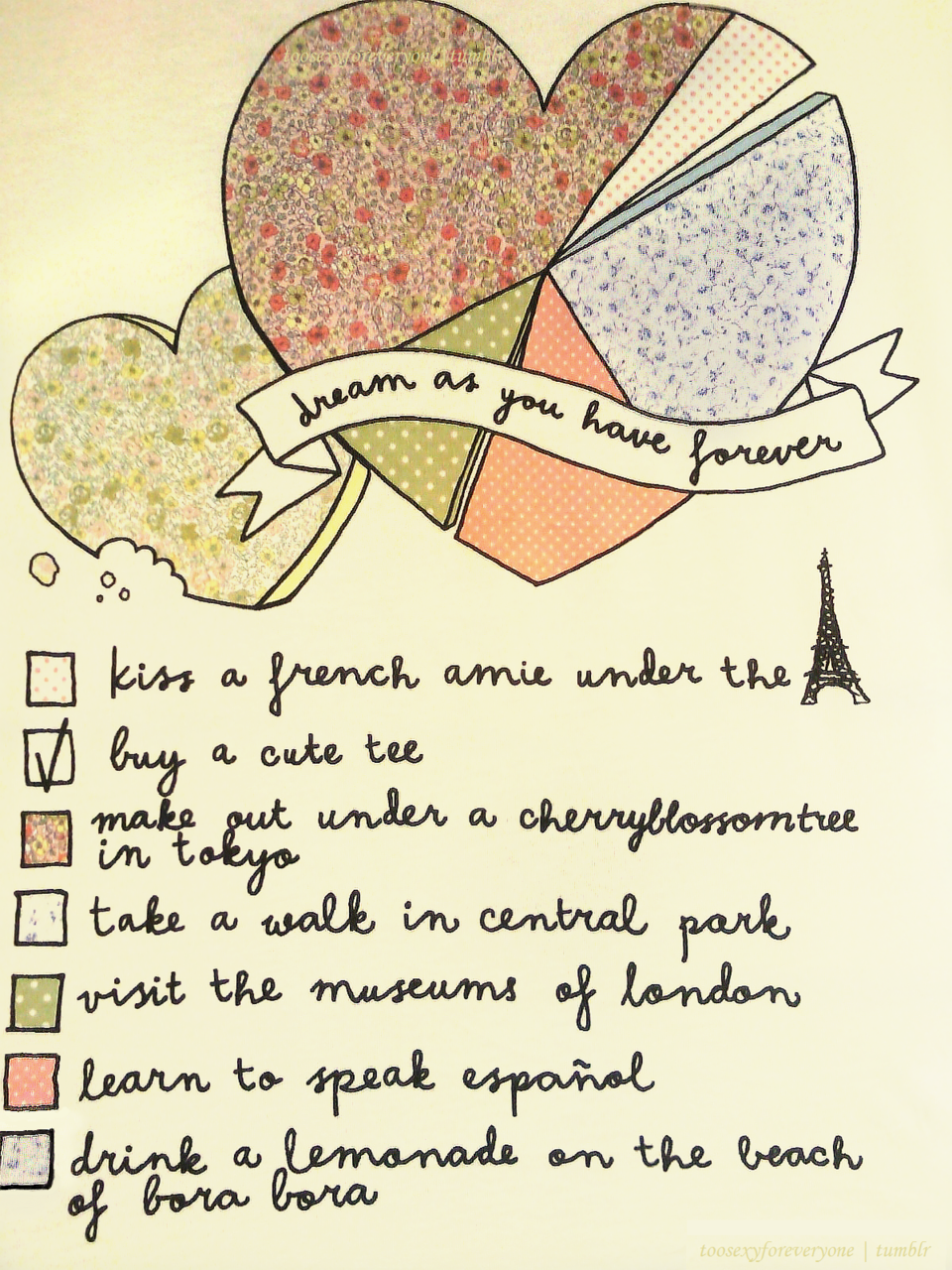 This is a nice checklist, except I would probably swap french/italian for learn to speak…