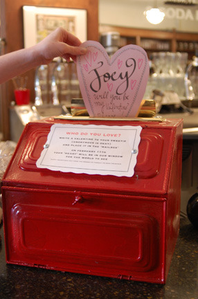 St. Valentine´s Red- INBOX Stop on by the Farmacy this week and inscribe a Valentine to your sweetie, your mom, your daughter, your son, (the postman?!) and place it in the 'mailbox' on the counter top.  Construction paper hearts and markers provided. On February 11th your 'heart' will be in our window for the world to see! (or at the very least, Carroll Gardens) Live far away but love someone in the neighborhood? Send us an email and we'll inscribe it for you! brooklynfarmacy@gmail.comHappy Valentines Day from the Brooklyn Farmacy & Soda Fountain. 513 HENRY STREET, CARROLL GARDENS, BROOKLYN My Facebook place.