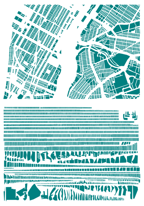"vobios:  ""French artist Armelle Caron takes maps of cities and reorganizes the individual blocks into ordered rows. The process transforms a chaotic city into a unrecognizable, but systematic assemblage of shapes. I'll be honest, the sizes of the images below don't do the designs justice."""