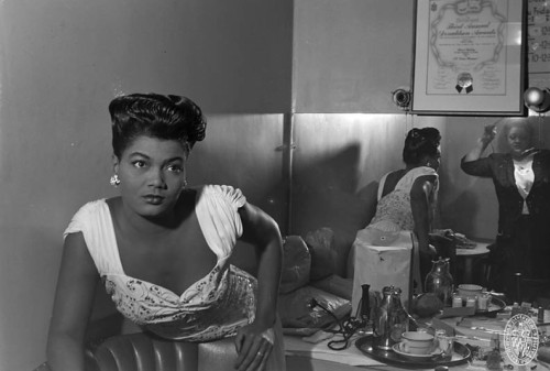 Pearl Bailey in her dressing roomca. 1946Paul S. Henderson (1899-1988)4x5 inch acetate negativePaul Henderson Photograph CollectionMaryland Historical SocietyHEN.00.A2-247 Pearl Bailey (1918-1990) was an actress and singer who made her Broadway debut in 1946. Bailey's title role in the all-African American production of Hello Dolly! in 1968 won her a Tony Award.