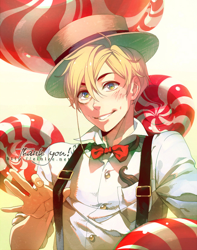 suspenders by =einlee   Manga & Anime / Digital Media / Drawings©2011 =einlee like it says, thank you! for everything probably a bad time toss out more random OCs, but for those that bother to read descriptions, this guy is avi jean who—like all my other characters—is still wallowing in obscurity. gotta fix that soon!and whew…finally satisfied, after a bout of insanity from trying to fix the colors. ironically this image was intended to be a relaxing break from all my other projects. so much for that @_@'——font: yankee ghosts BBtexture: [link]tools: sai, photoshopprints: available here