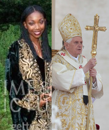The Pope copies Brandy's robe, replacing her black undergarment with the traditional white