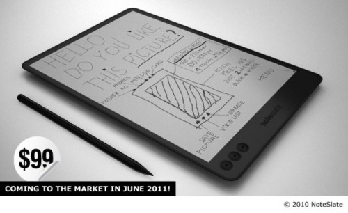 "A Kindle + A Moleskine + An Etch-A-Sketch = The Noteslate Take the advantages of the Kindle. Add writing. Take out the Internet. Make it like a Moleskine that's perfect for notes. What do you get? If you answered ""the coolest Etch-A-Sketch ever made,"" you're a little more than halfway there. (via Hacker News) source Follow ShortFormBlog"