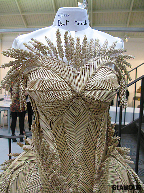 Sarah Burton's woven bustier gown (rumor has it that the stunning creation was co-crafted by a corn husk guild based in the U.K.) for Alexander McQueen Spring 2011. Helena Bonham Carter, if you're reading consider your Oscar dress hunting process finito.