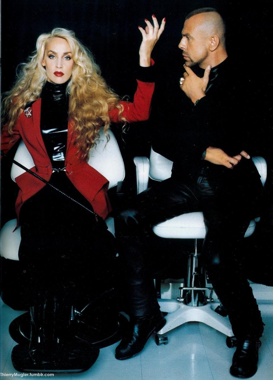 Thierry Mugler and Jerry Hall, photographed by Helmut Newton