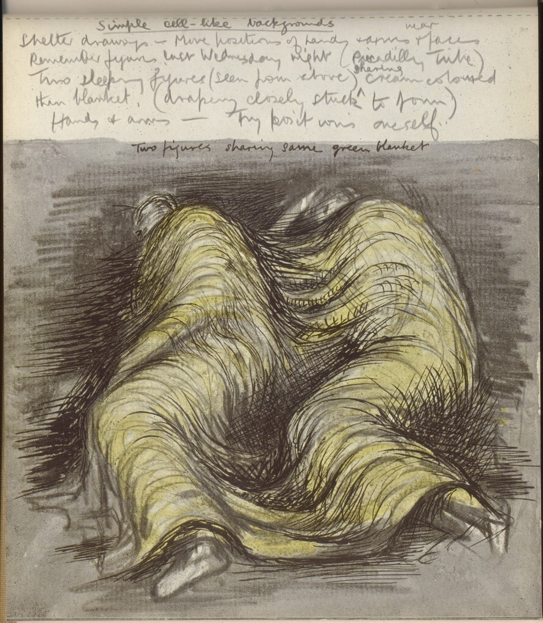 Moore, Henry, 1898-1986. Shelter sketch book / Henry Moore.                                                                 artknowledgenews.com   Sinister edge … Henry Moore's Pink and Green Sleepers (1941), of  figures sleeping in London's Underground during the blitz. Reproduced by  permission of the Henry Moore Foundation/Tate(http://www.guardian.co.uk/artanddesign/2010/feb/18/henry-moore-sculpture-tate)