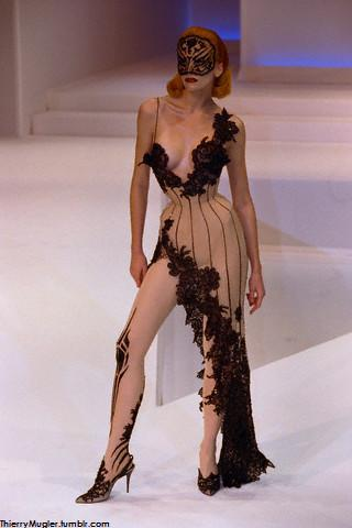 Thierry Mugler black lace and nude colored evening dress with a black face mask Haute Couture SS 1999