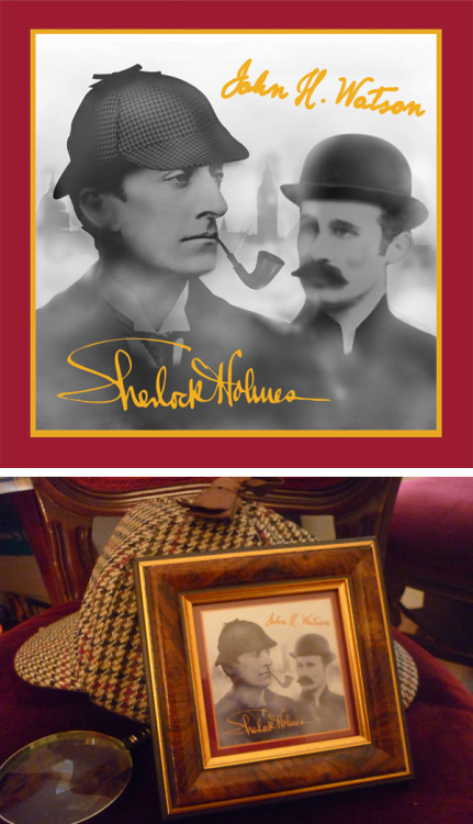 Items for the Sherlock Holmes Museum Gift Shop on Baker St, London. Image of Holmes and Watson sold in a Victoria-era photo frame. The images are created from old photographs manipulated to match the characters' famous look. See the rest on penneydesign.com