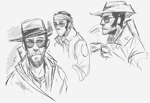 Some Sniper from TF2, just some sketches for practice. His face structure is so interesting fff paint tool SAI