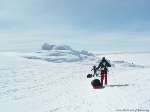 XC skiing on Europe's largest glacier, Vatnajökull, Part of the 8 day Vatnajökull XC ski tour in Iceland. The peak we are arriving at is Hvannadalshnúkur, Iceland's highest summit. My own picture.