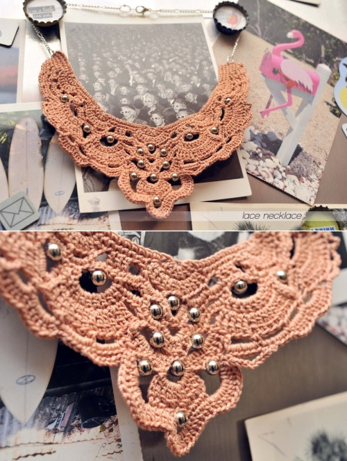 {made} — lace necklace   My first true lace project. Definitely found following the chart was easier than the written instructions which surprised me because I usually get lost in a chart, but these instructions were just too intense. I couldn't find a 1.5mm crochet hook so used the closest size I could find which was a 1.25mm which means mine is about an inch smaller than the pattern suggested, but I like it smaller. It still dips pretty low and it looks best when it's not laying over a shirt. Used a copper color crochet thread and silver metal beads for the accents.It was a challenging pattern, worked only on the right side. That meant binding off after each row, and way too many ends to weave in afterwards! Weaving in ends is not my favorite part of a project, but this turned out so fun it was well worth all the frustration.  The pattern can be found in the May/June 2010 issue of Crochet Today!