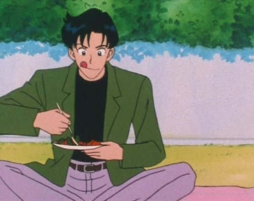 sailorfailures:  lolrumu:  Mamoru what is your tongue doing, what even is that face.  momnomnomnoru   :d