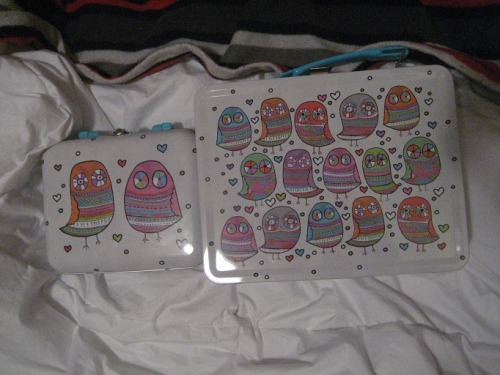 Lovely paperchase owl tins (lunch boxes) that I got. They're for helping me stay organized, with crafts and things. I LOVE BOXES! I love containers, all different kinds, to keep all sorts of things in. They're great for staying organized, and look nice!