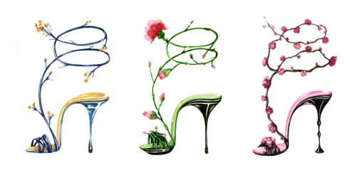 Shoe wraps. Inspired by Manolo Blahnik. More to come. Click image to for high res.
