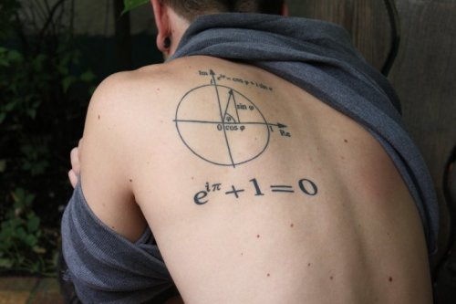 This was my first tattoo. I've always had a love for mathematics and academia in general, so I decided to get that love permanently manifested upon my body so that I will never forget it. It's called Euler's Identity, and is considered one of the most beautiful equations in mathematics, because it connects the five fundamental numbers (e, i, pi, 1, 0) using the fundamental operations (addition, multiplication, exponentiation, and equation). Although I'm now an English major and never plan on taking another math course again, there are absolutely no regrets on getting this done, and it is my favorite of the four I have.