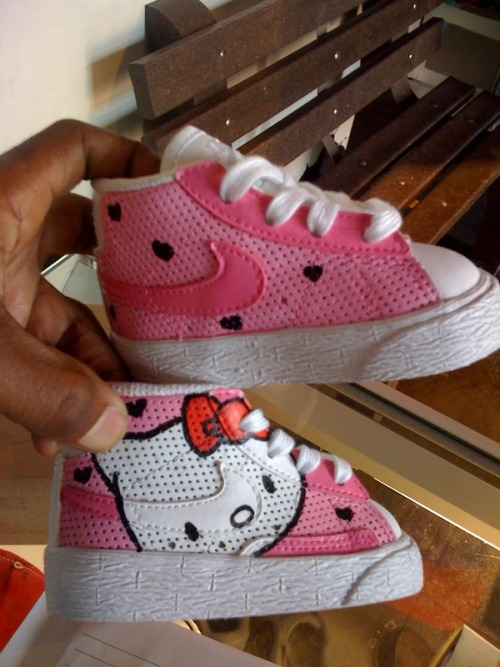 Fresh off the brush.  Custom 1 of 1 Hello Kitty Blazers by Michael Norice