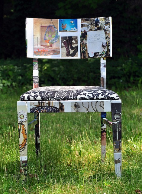 old chair recycled with anthropologie catalog pages, im gonna make one
