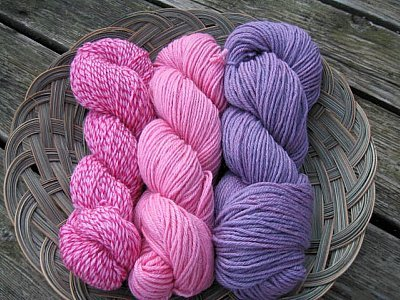 these were dyed with cochineal (pink) and cochineal + indigo (purple)