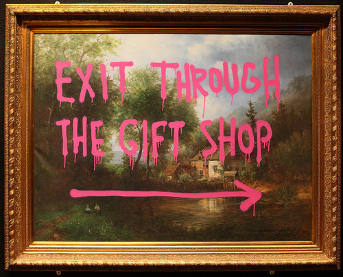 Finished watching Exit Through The Gift Shop, and it was very funny and was amazing to hear Banksy speak so candidly. I love his art and don't care if he has sold out….still pretty amazing!!