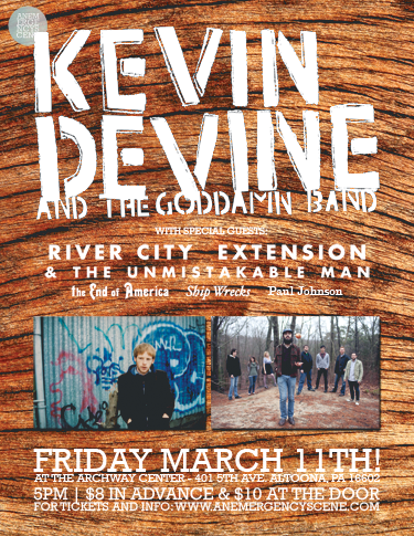 We're really excited to play with Kevin Devine (again), River City Extension, and The End of America. These bands rule. Come see all of us at The Archway Center, 401 5th Ave., Altoona, PA. (Psst… We'll have a new EP by then…) (click the photo to RSVP on facebook)