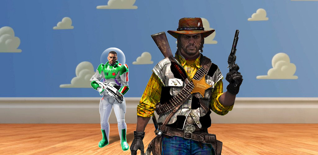 Shepard and John Marston (Mass Effect & Red Dead Redemption) as Woody and Buzz Lightyear. Awesome sauce.