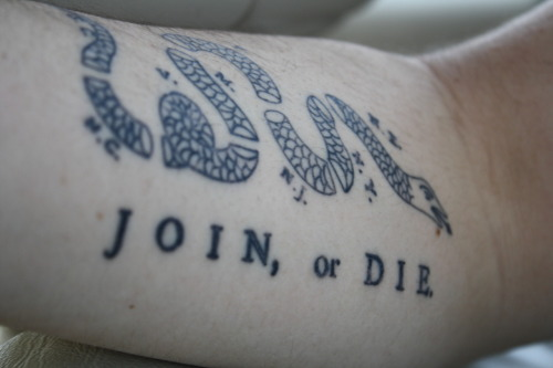 """Join, or Die"", drawn originally by Benjamin Franklin. The cartoon appeared along with Franklin's editorial about the ""disunited state"" of the colonies, and helped make his point about the importance of colonial unity. www.whensuchaplaceisnecessary.tumblr.com"