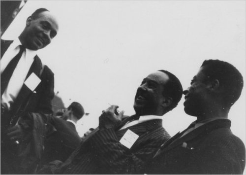 James Baldwin with Langston Hughes and Ralph Ellison at the Newport Jazz Festival in 1958.