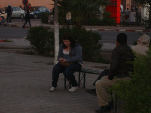 We found a wifi hotspot near the tourist office in Marrakech. Sadly, the area stunk like piss. But wifi is wifi, so Caitlin braved the smell while Ben and I stood at a safe distance. The reason this picture looks so awkward is because it was. We really should have been there to protect 'the woman.' In fact, a few minutes after this pic was taken, I joined Caitlin and gave her a little cuddle. Except we were close to a Mosque, and I think our affectionate little tickle was not appreciated. One man showed us all the ways he wanted to kill us. He made the 'throat slitting' gesture and a bunch of others. He then walked away spitting in our direction. We felt sufficiently awkward and asked Ben to relocate. But wifi is wifi.