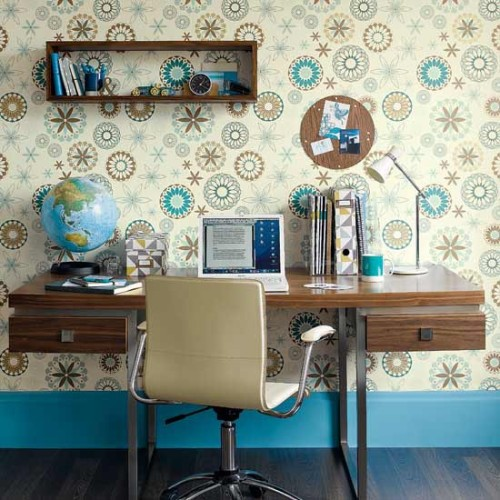 Use stencils instead of wallpaper - brilliant! I hate wallpaper (mostly because I've had to remove it before).