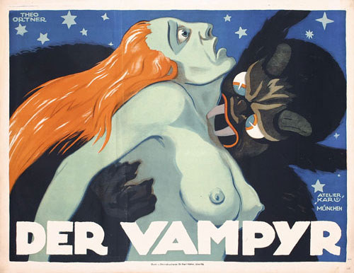 Der Vampyr art by Theo Ortner  1920  The film was a German vampire movie from 1920. It was  directed by A. Stranz, written by Franz Seitz (senior).