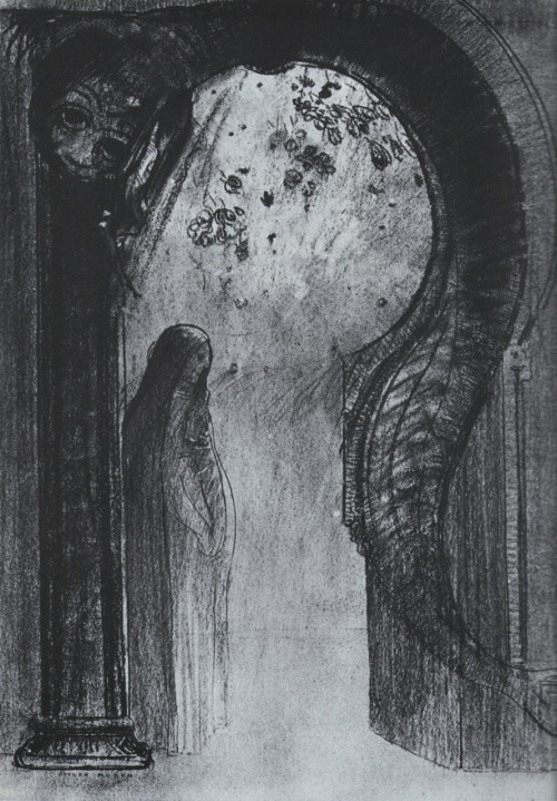 Woman and snake / Femme et serpent, c.1885-90  by Odilon Redon *  Rijksmuseum Kröller-Müller ,Otterlo from [recently acquired;] Odilon Redon, edited by Carolyn Keay [Rizzoli,1977]