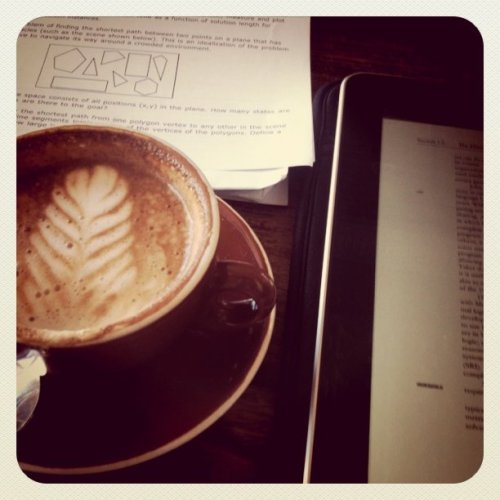 Latte and homework. (Taken with instagram)