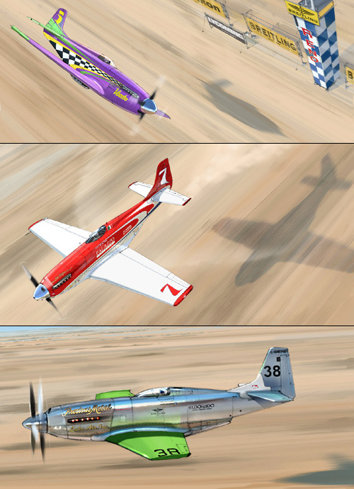 P-51 racers Voodoo, Strega and Precious Metal  art by the mighty speedbirds