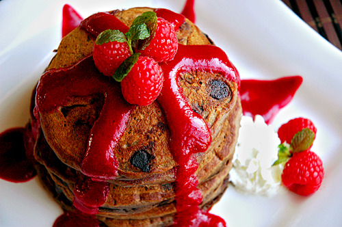 Chocolate espresso pancakes with Raspberry Coulis