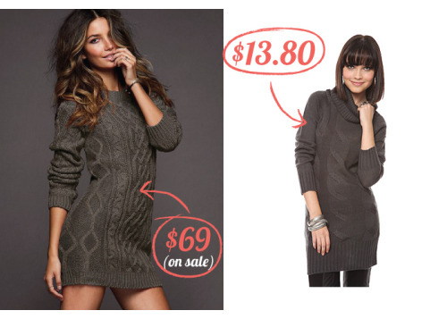 "1. Victoria's Secret | Slouchy Cable Sweaterdress | $69 2. Forever21 | Fab Cable Knit Sweater Tunic | $13.80 As my first post I'm posting my most recent find: a comparable dress found on the higher-priced Victoria's Secret website has a twin at Forever21. There is a version on Victoria's Secret with the same turtleneck style but the price remains the same at $69. My tips for online shopping: 1. Good photography makes anything look great. Even this orange.Looking at the photographs you may notice a difference in material quality. However, Victoria's Secret has a bit more invested in photography and photo re-touching making the product seem a lot richer than its counterpart. But think about it: when was the last time you ordered something from online it looked like its photo? Exactly. 2. Read the fine print. Especially about materials.In the details, they are both made of acrylic. Victoria's Secret has an imported blend of acrylic and wool. But you're paying for that wool at a whopping $55.20 extra. 3. Do the math: decide what is more important to you and how you can get more of that.Look at the length. The ""tunic"" shown in Forever21 appears a bit longer on the model than Victoria's ""sweaterdress."" Taking into account the average height of a model is 5'10"", Forever's would still be noticeably longer than Victoria's. You can interpret whether this is good or bad in terms of vampiness or material cost-effectiveness. Overall you do lose the knitting detail and the added warmth of wool but in my book I'd go for the cheaper version!"
