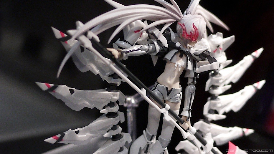This is the White Rock Shooter Figma that Good Smile showed off at their WonCon booth this year. It's by far one of the greatest looking Figmas to date and the only way to get it is with the Black Rock Shooter PSP game coming to Japan later this year. Check out the always awesome Danny Choo for more.
