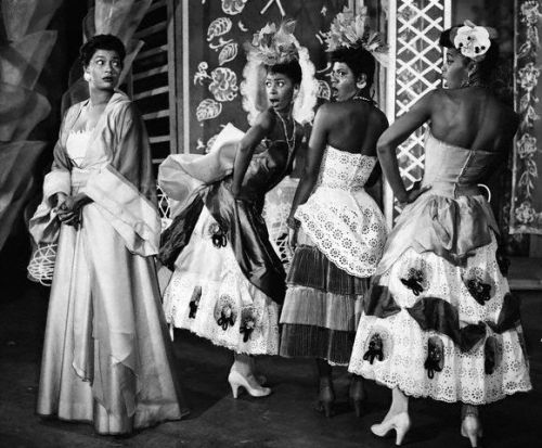 "Pearl Bailey as Madame Fleur in the 1954 Broadway musical, House of Flowers, with her ""flowers"", Josephine Premice (Tulip), Enid Mosier (Pansy) and Enid Moore (Gladiola). Image via Corbis."