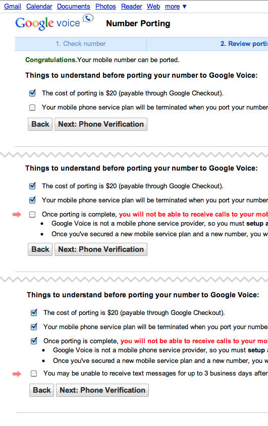 "Google Voice - On the sign up page for Google Voice's new number porting feature, ""Things to understand"" appear one by one as the user checks them off, increasing the likelihood of each point being read.  /via Jacob Berlow"