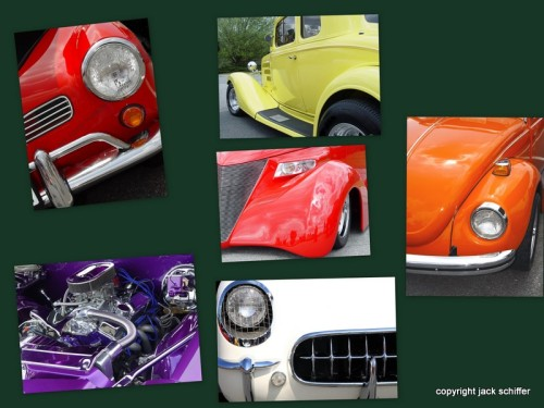 Collage of custom cars from car show