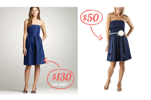 1. J.Crew | Silk Taffeta Lorelei Dress | $79.99-$129.99 (depending on color & size) 2. Target | Merona Strapless Dress w/ Flower Belt | $49.99 Looking for simple bridesmaid dresses? Try Target.com. Their choices are surprisingly chic.