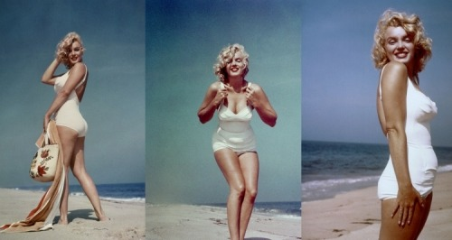 Marilyn Monroe's thighs touched when she walked, when she sat down, her stomach sometimes rolled over her waistband, her butt jiggled when she walked, and these were her measurements: Weight: 118-140 poundsBust: 35-37 inchesWaist: 22-23 inchesHips: 35-36 inchesBra size: 36D* *her weight fluctuated throughout her life. She wore dresses from sizes 6-10. Now, a lot of women aspire to be a size 2, not have their thighs touch, and not have any extra weight in their stomach. Are women really doing it for themselves or for society? And she is still considered one of the most beautiful women.  So all women should aspire to have her measurements even if they want to be skinny, right? Come on women, hurry up and make your thighs touch. Society's trying to objectify you here.