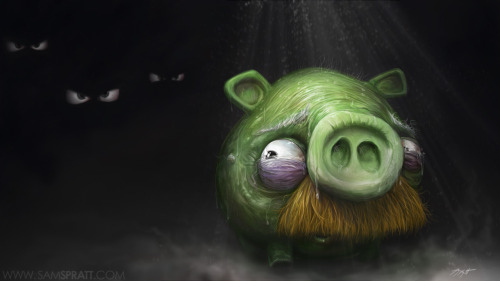 A dark twisted painting I did from the pig's perspective of Angry Birds.  For the latest from me, become a fan on facebook! https://www.facebook.com/SamSprattIllustration