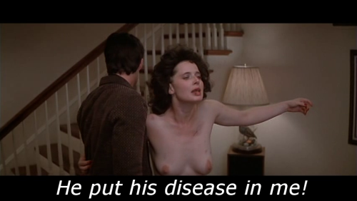 """He put his disease in me!"" Blue Velvet (1986) Written and directed by David Lynch, starring Kyle Maclachlan, Isabella Rossellini, Dennis Hopper, and Laura Dern."