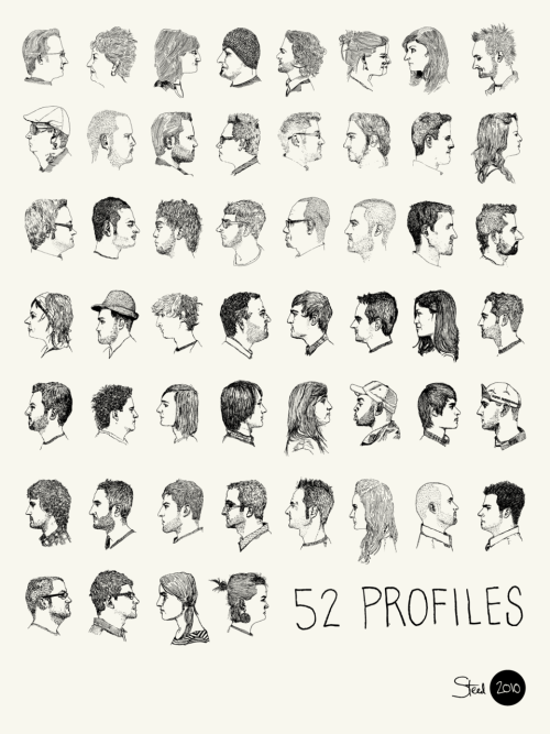 thingsorganizedneatly:  52 Profiles poster, by Kyle Steed. Click on his name for a lot of other good drawings.