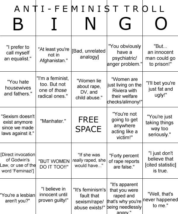 cognitivedissonance:  Right here ^^ I swear, you can get a bingo in less than 5 minutes via comment perusal, even on progressive sites.