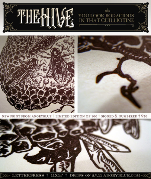 Letterpress print release on 2.9.11 The Hive