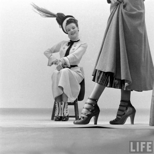 "earwigbiscuits: 1948 Fashions from the musical ""High-Button Shoes"". Photograph by Nina Leen in Life magazine."