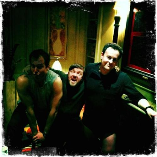 """Bad picture of Will Arnett.  With Ricky Gervais and Mitch Hurwitz at the Charlotte St Hotel, London."" - @MitchHurwitz (via -saturdaynightlive)"