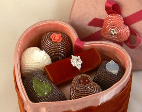 Heart-Shaped Box of Faux Chocolates by meredithdada on Etsy