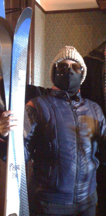 "Here's my scary ski outfit, I'm deathly afraid of being ""cold"" so I wore this balaclava thing and looked pretty funny/scary"